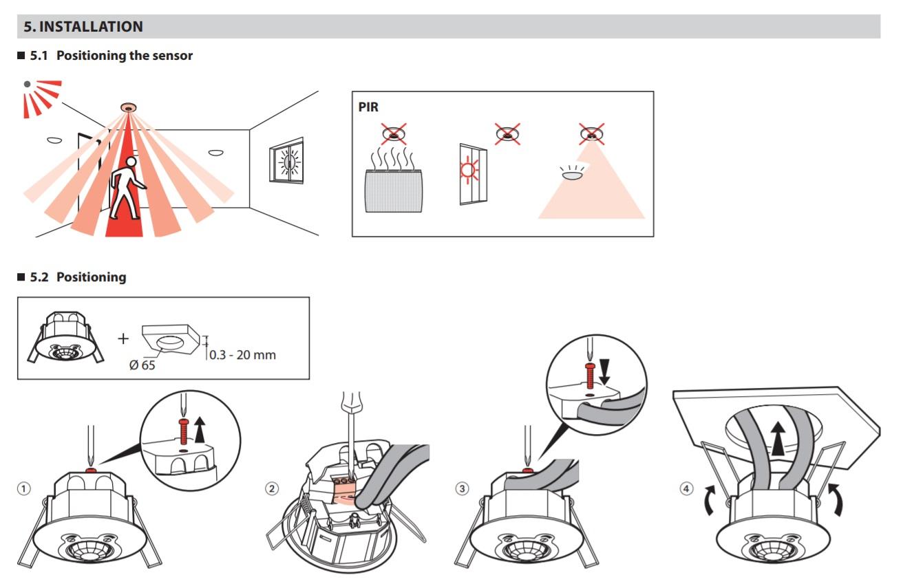 Pir Ip 41 Ceiling Mounting Motion Sensor 360 Lg 048944 2wire Install Diagram Comfort El